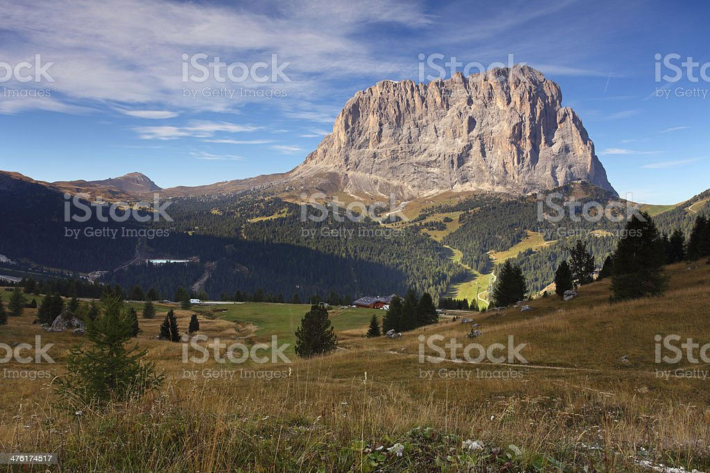 Beautiful summer landscape in the mountains. Italy alp dolomites stock photo