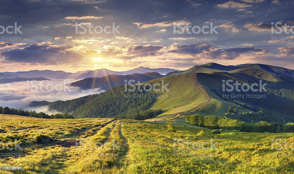 Beautiful summer landscape in the mountains. royalty-free stock photo