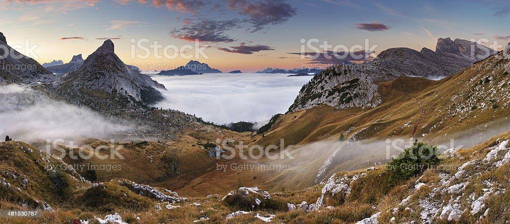 Beautiful summer landscape in the mountains. Sunrise - Italy Dolomites stock photo