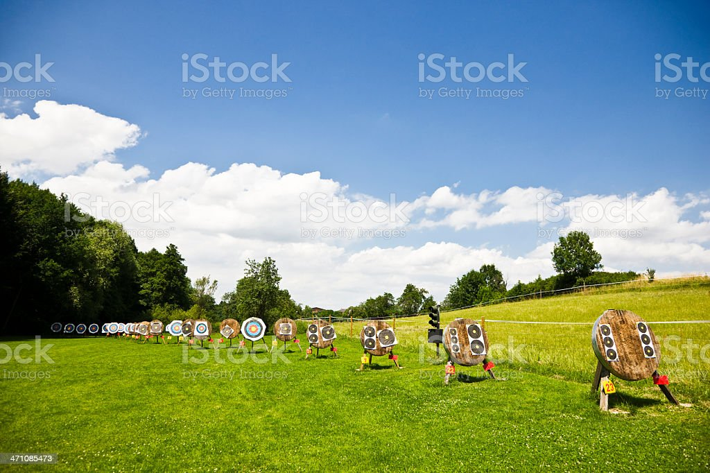 beautiful summer landscape with archery targets royalty-free stock photo