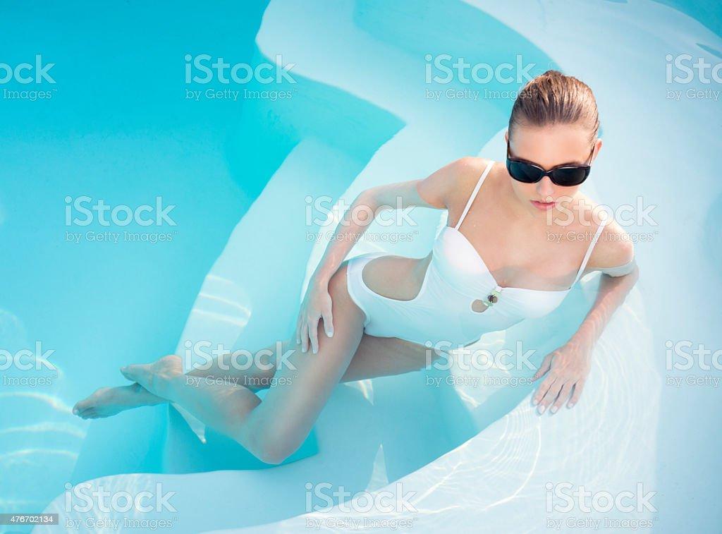 Beautiful Summer Monokini Fashion, Pool Beauty stock photo