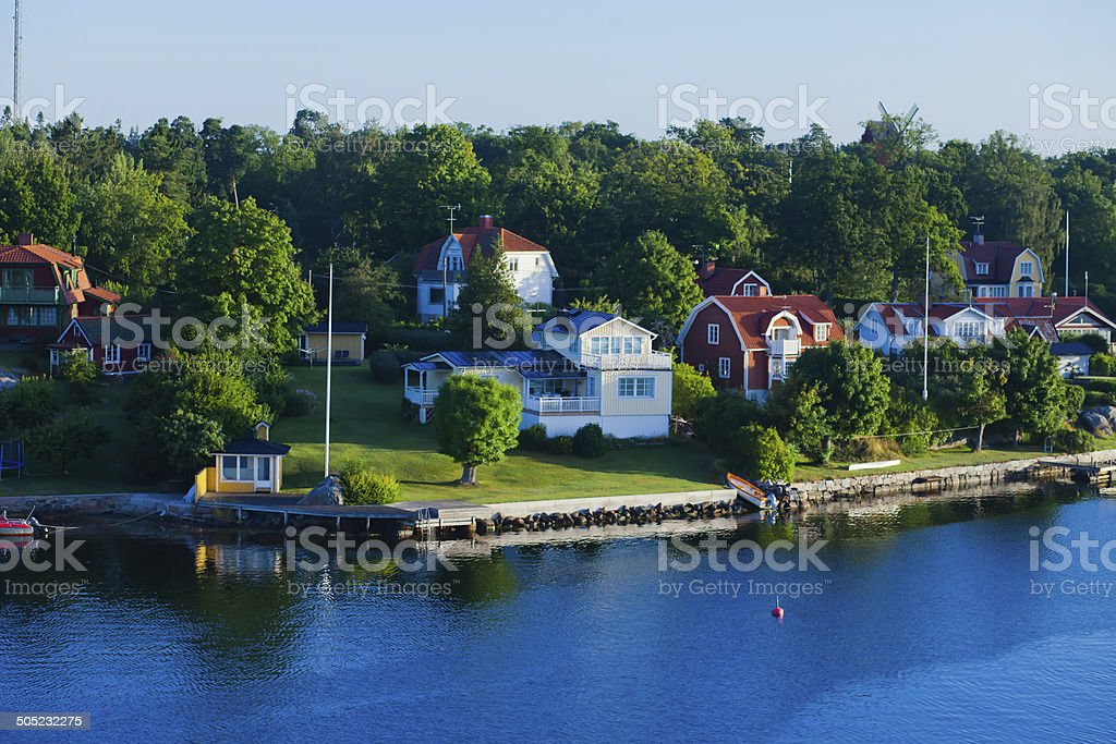 Beautiful summer vibrant picture of Stockholm archipelago and skerries stock photo