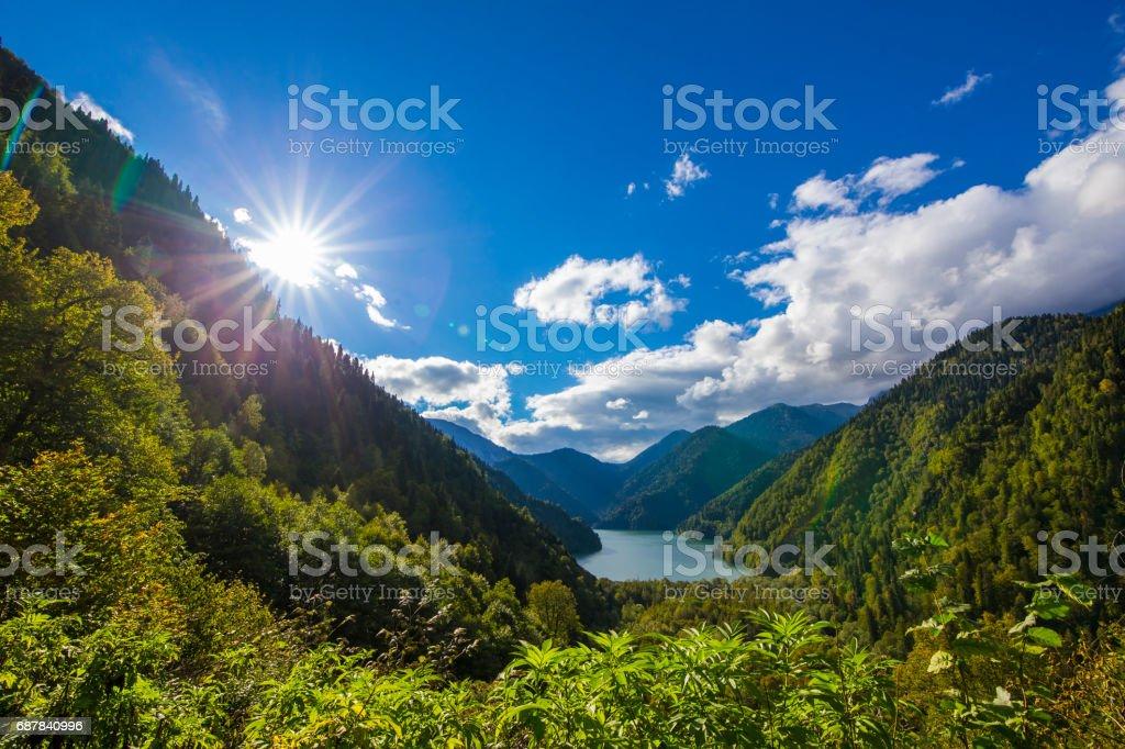 Beautiful summer view on mountain lake stock photo