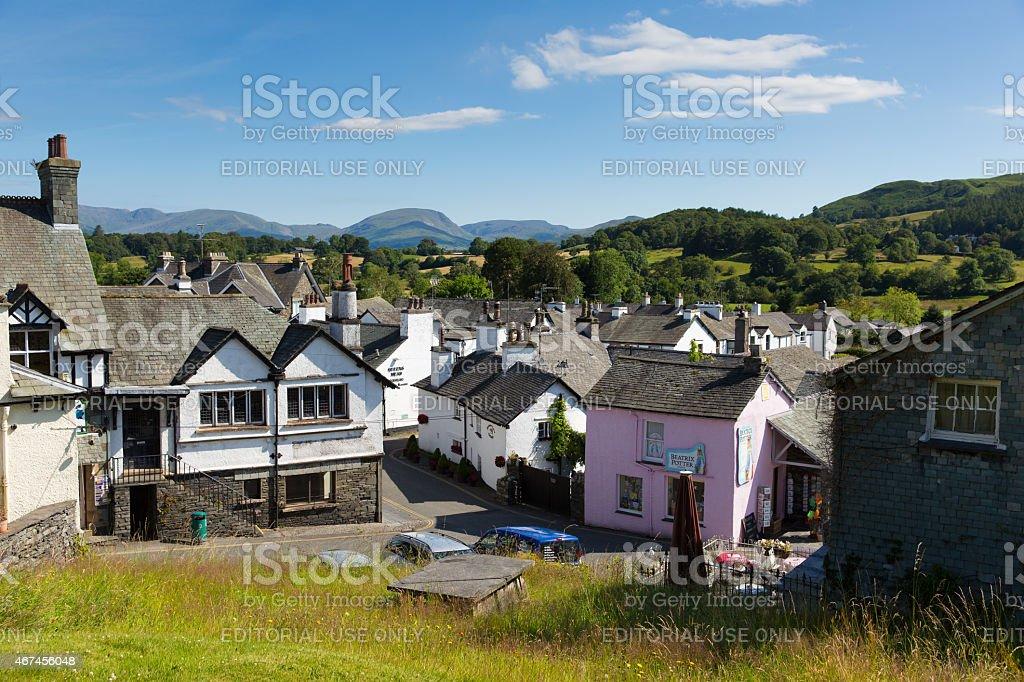Beautiful summer weather popular tourist village Hawkshead Lake District stock photo