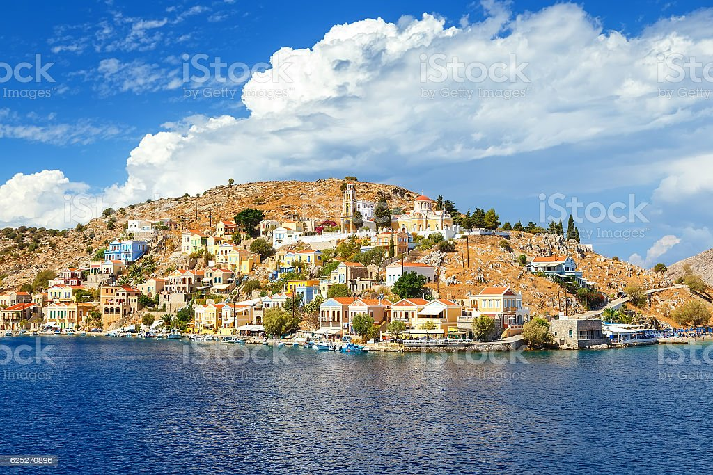 Beautiful summers day on Greek island of Symi stock photo