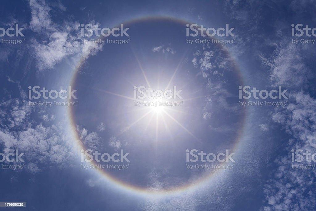 beautiful sun halo phenomenon stock photo