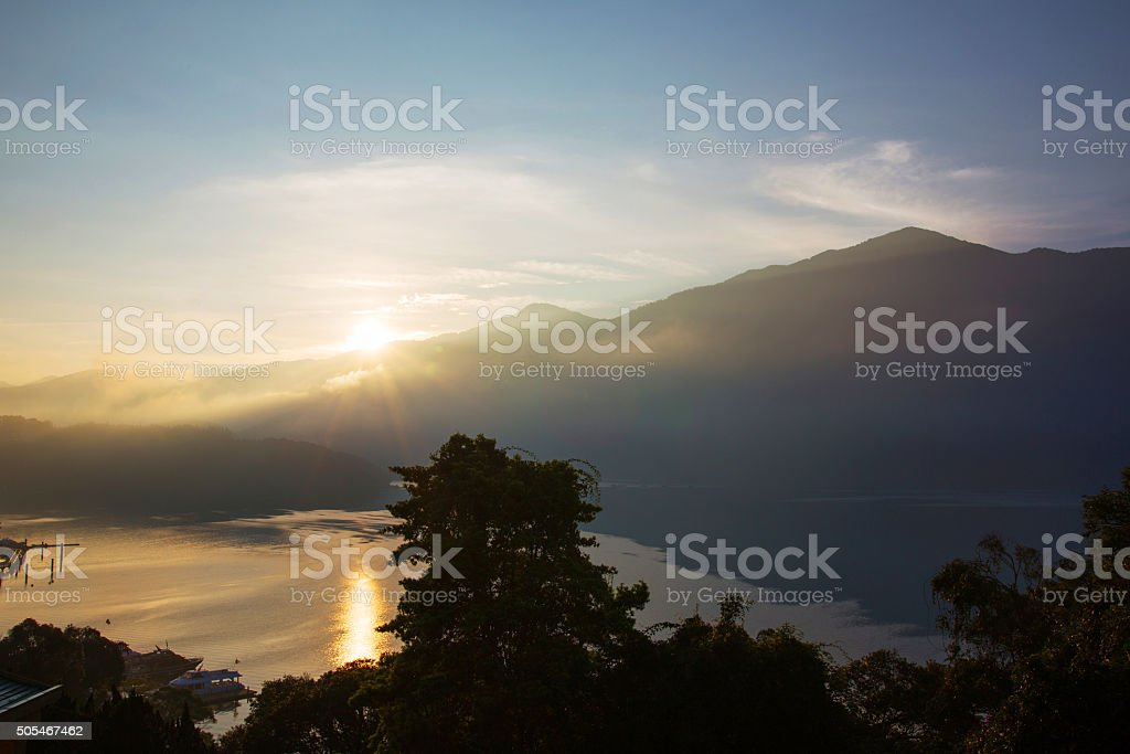 Beautiful Sun moon Lake stock photo