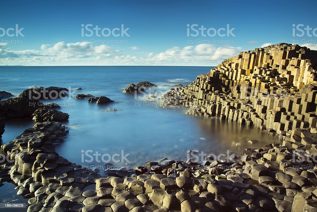 Beautiful sunny afternoon at the famous Giant's Causeway stock photo