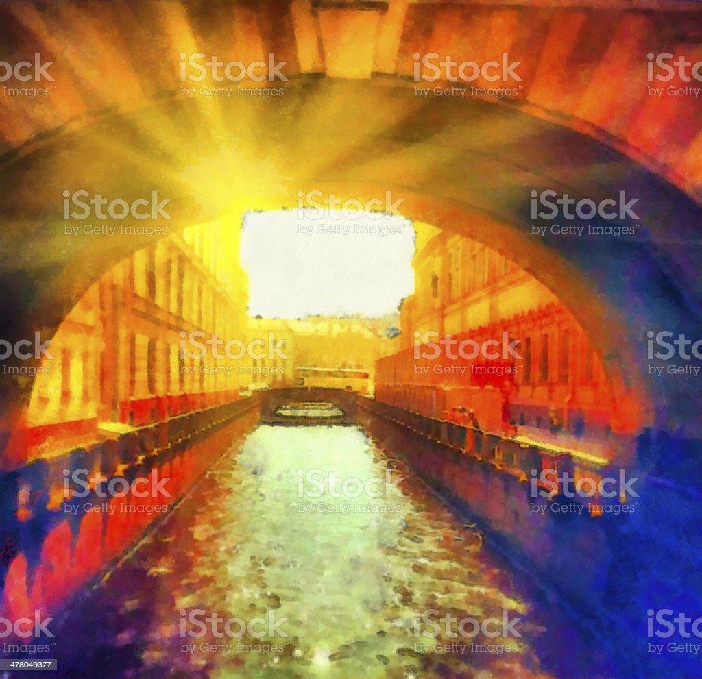 Beautiful sunny cityscape on street embankment royalty-free stock photo