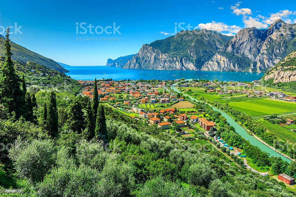 Beautiful sunny day on Lake Garda,Torbole.Italy,Europe stock photo