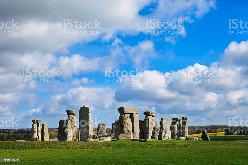 Beautiful sunny Stonehenge landscape England stock photo