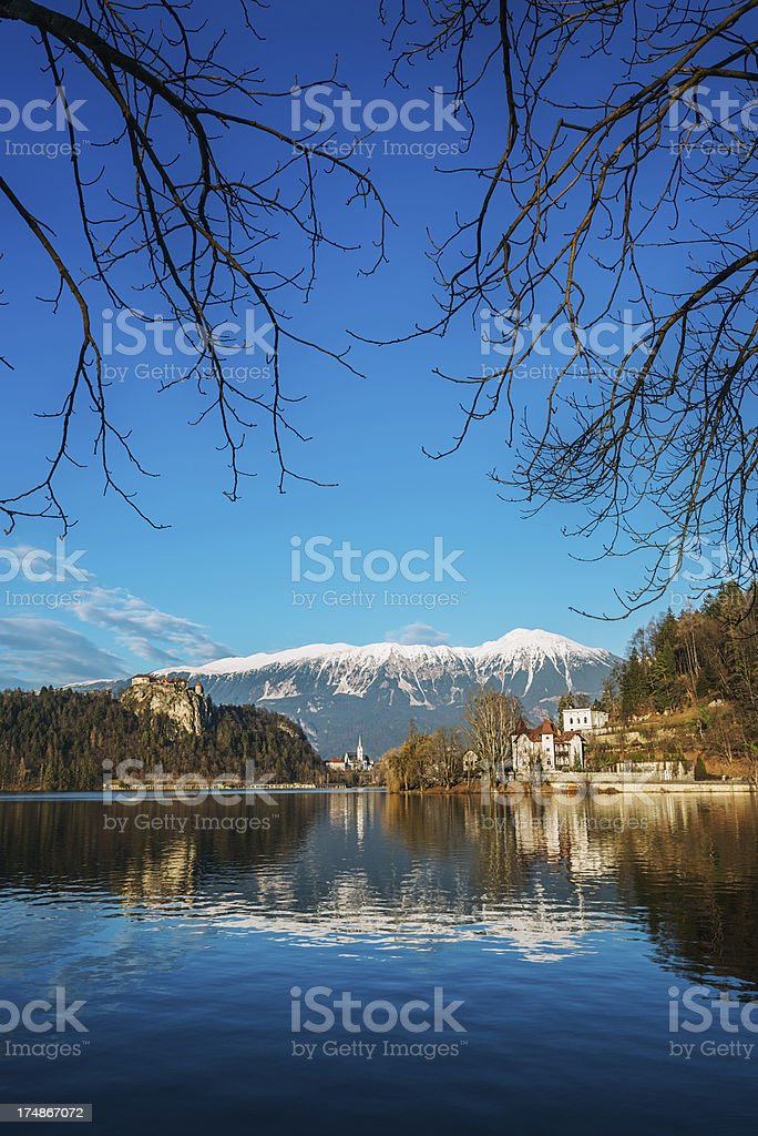 Beautiful Sunny Winter Day in Lake Bled, Slovenia royalty-free stock photo
