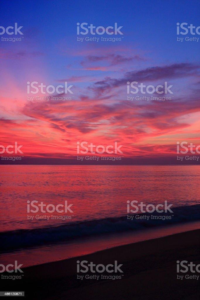 Beautiful sunrise above the sea, Thailand stock photo