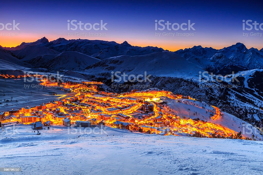 Beautiful sunrise and ski resort in the French Alps,Europe stock photo