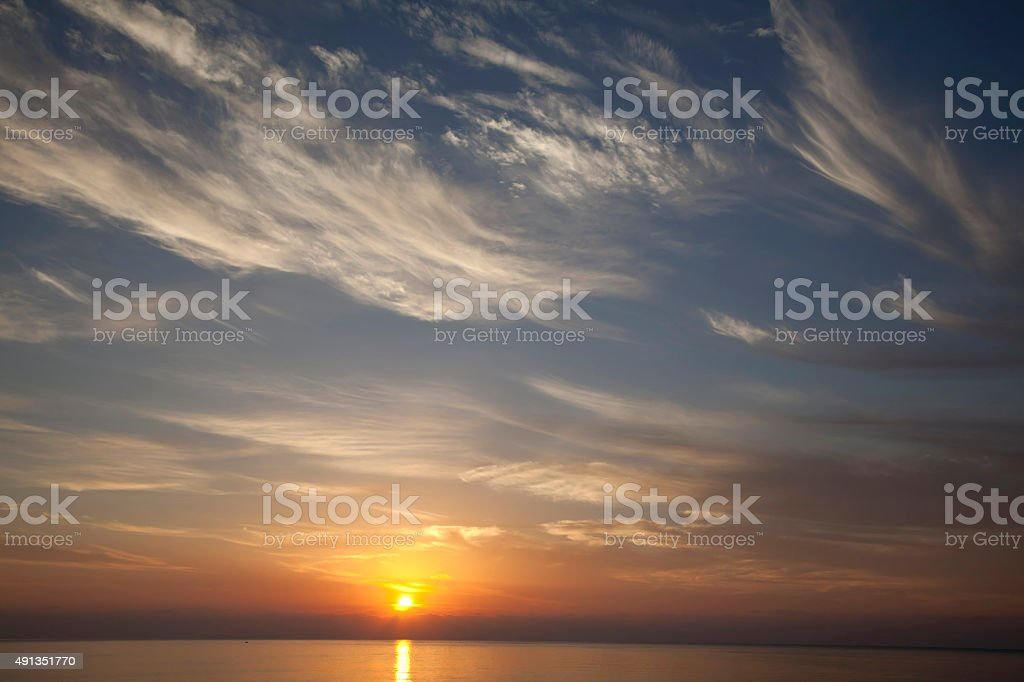Beautiful sunrise and sky stock photo