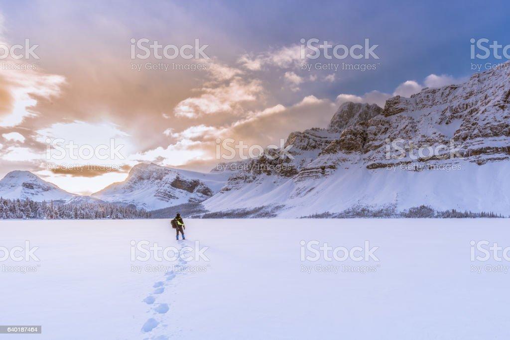 Beautiful sunrise at Bow lake, Canadian rockies, Banff National Park. stock photo