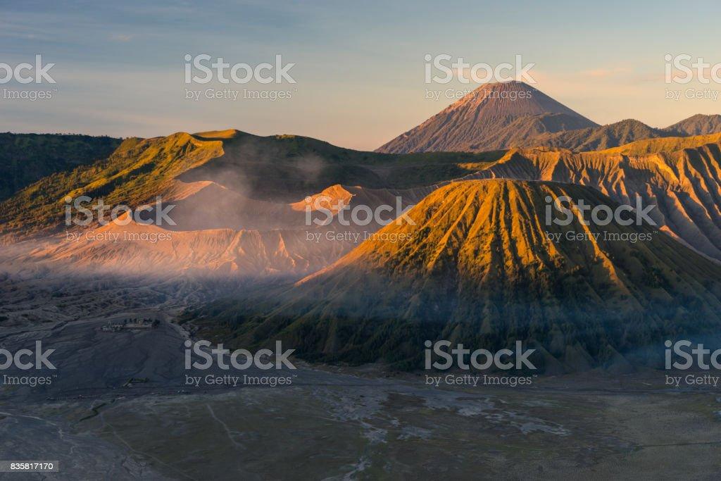 Beautiful sunrise at Bromo active volcano mountain, East Java, Indonesia stock photo