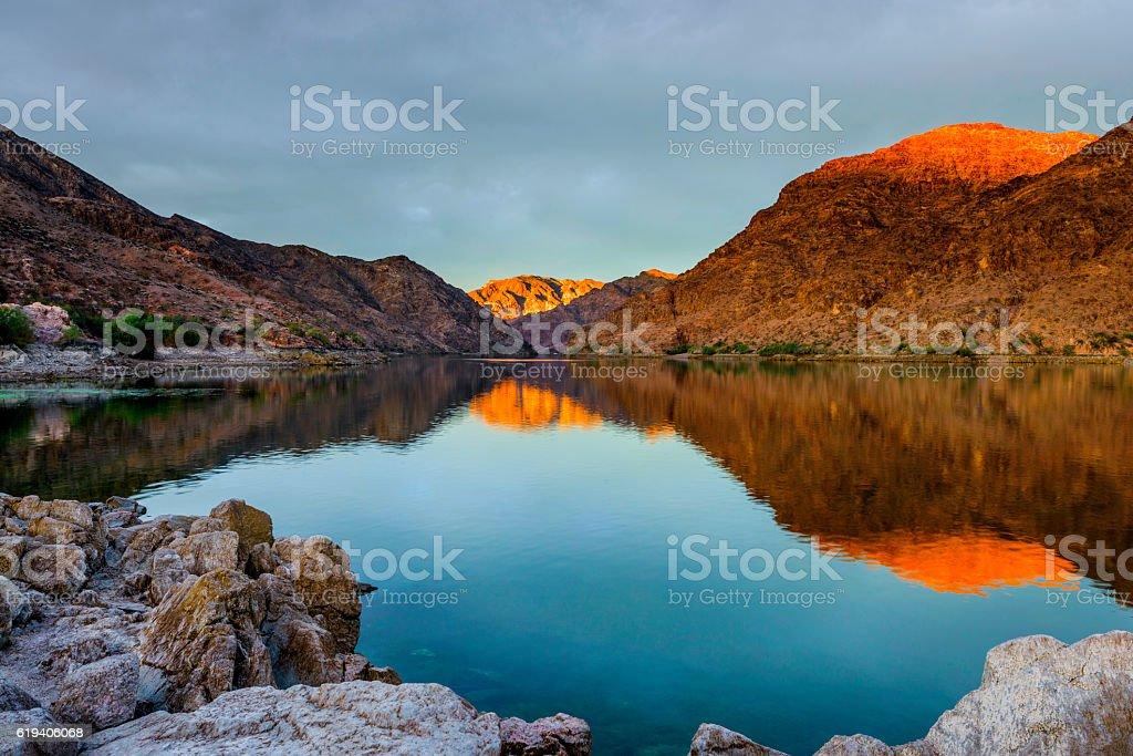 Beautiful Sunrise at Colorado River near Las Vegas stock photo