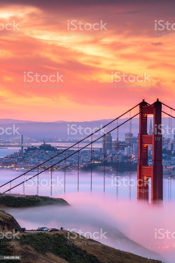 Beautiful sunrise at Golden Gate Bridge in Low Fog royalty-free stock photo