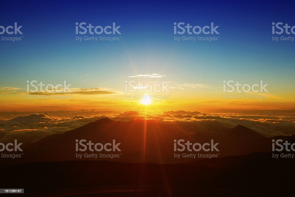 Beautiful Sunrise at Haleakala Maui stock photo
