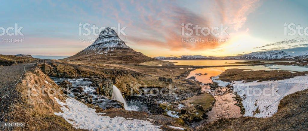 Beautiful sunrise at Kirkjufell, Iceland : Panoramic view. stock photo
