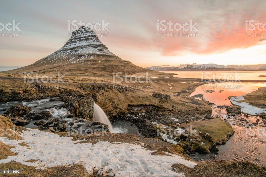 Beautiful sunrise at Kirkjufell, Iceland. stock photo