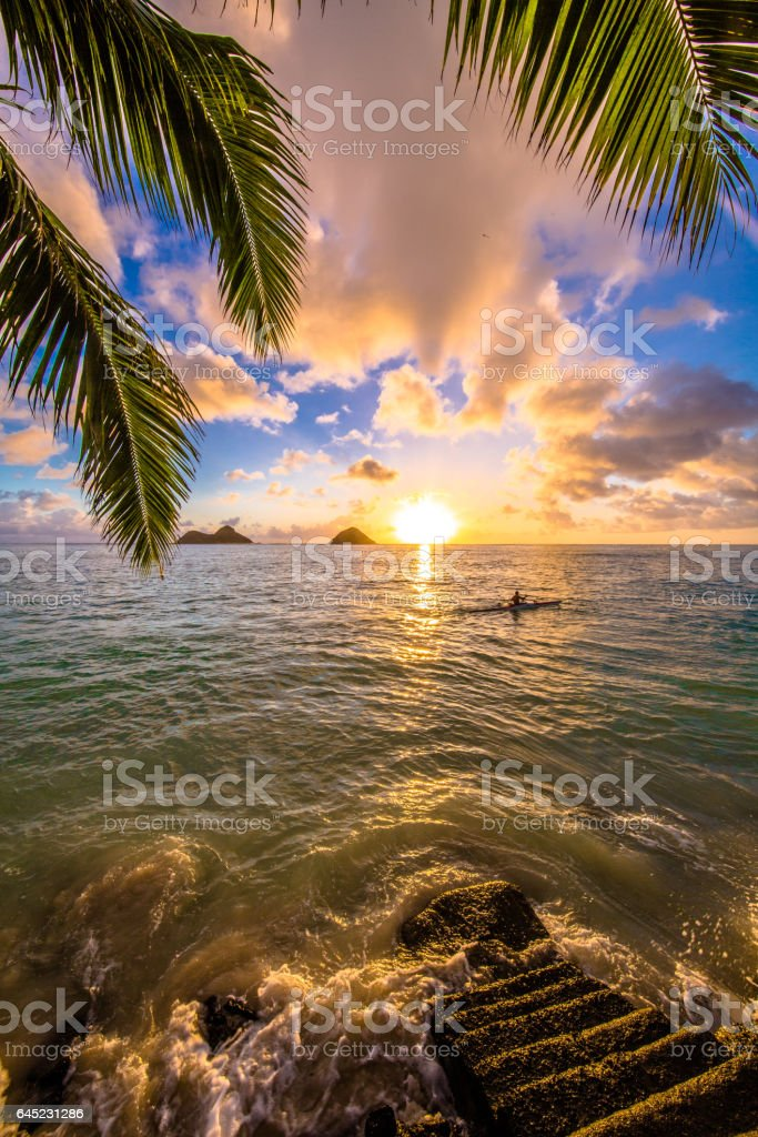 Beautiful sunrise at Lanikai Beach in Kailua, Hawaii stock photo