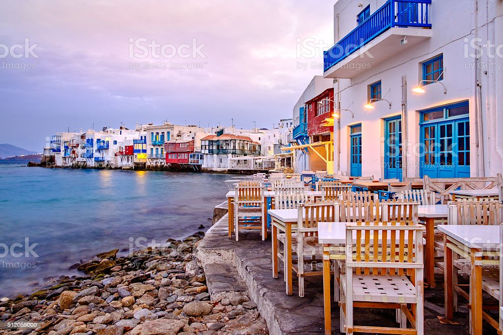 Beautiful sunrise at Little Venice on Mykonos island, Greece stock photo