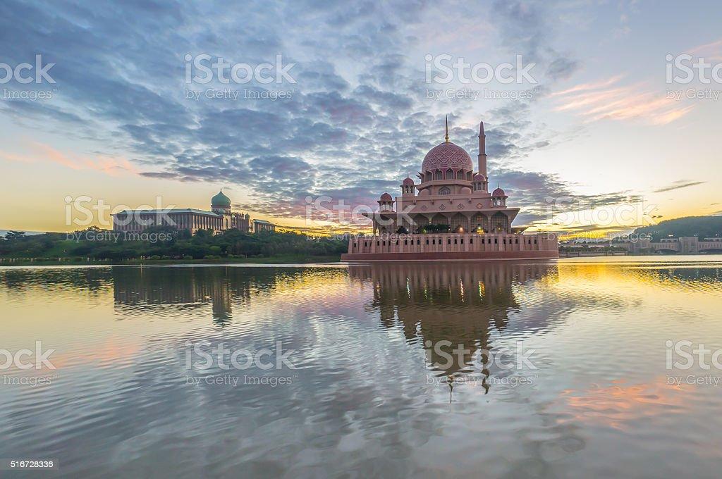 beautiful sunrise At Putra Mosque, Putrajaya Malaysia with color stock photo