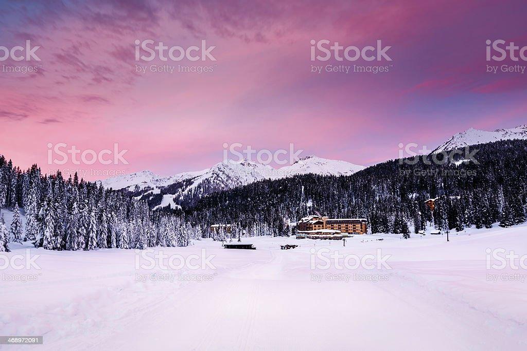 Beautiful Sunrise at Ski Resort of Madonna di Campiglio stock photo