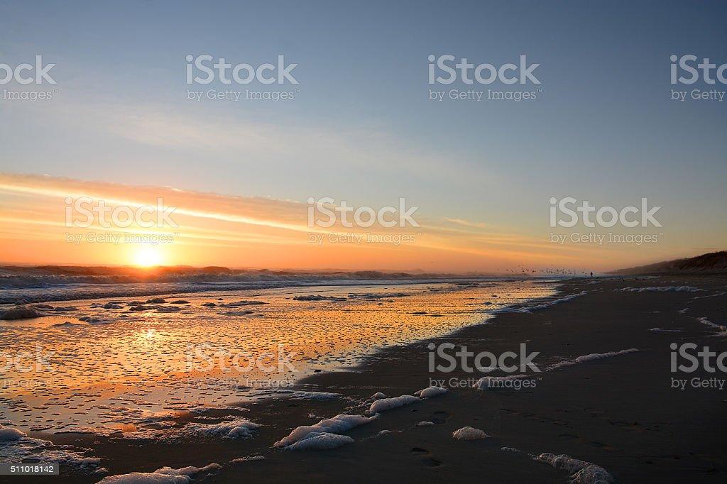 Beautiful sunrise at the beach. stock photo