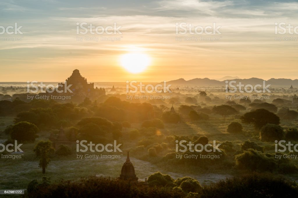 Beautiful sunrise at the temple valley in Myanmar stock photo
