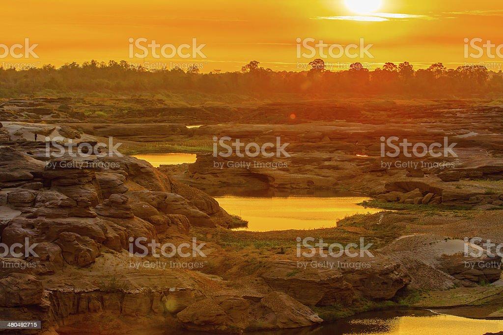 Beautiful sunrise in Sam Phan Bok, Thailand stock photo