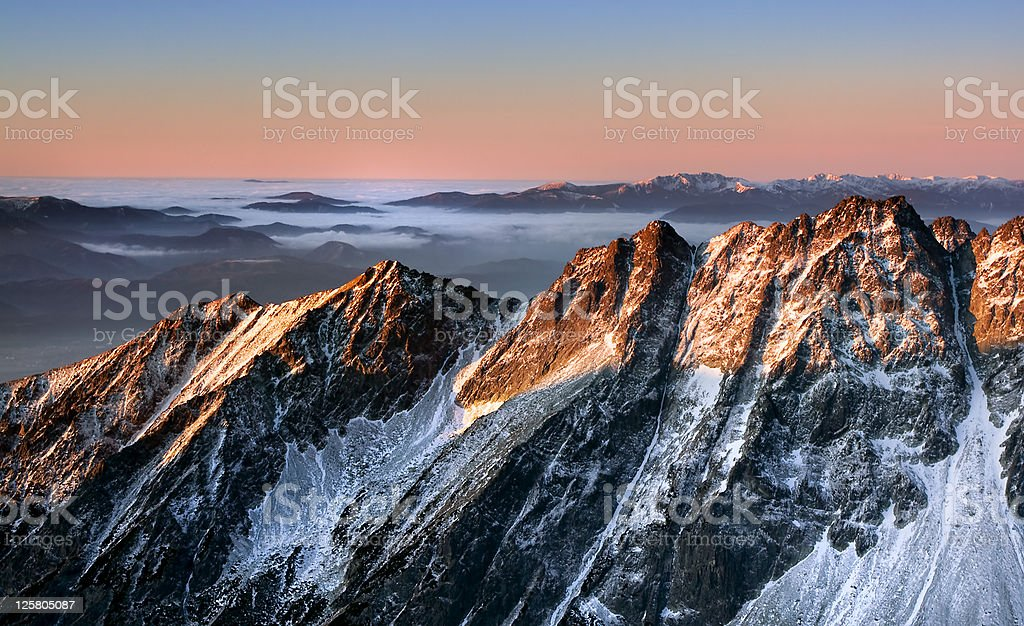 Beautiful sunrise in Tatras mountain stock photo