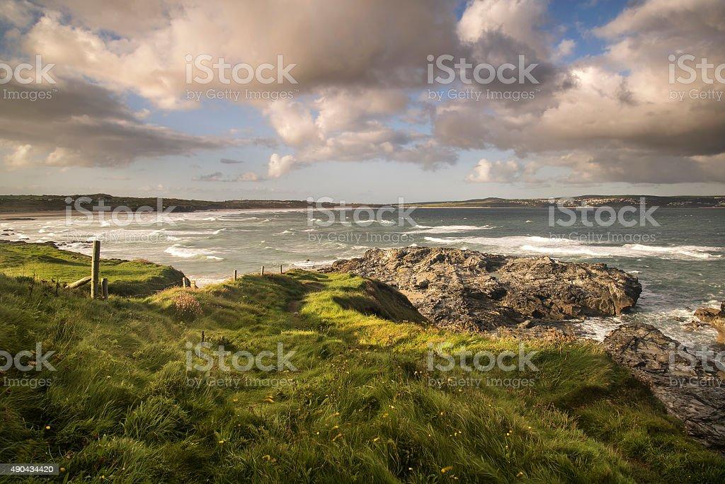Beautiful sunrise landscape of Godrevy on Cornwall coastline in stock photo