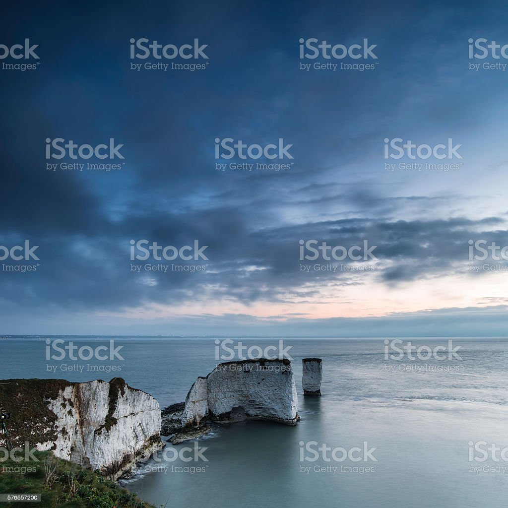 Beautiful sunrise landscape over Old Harry Rocks in Dorset stock photo