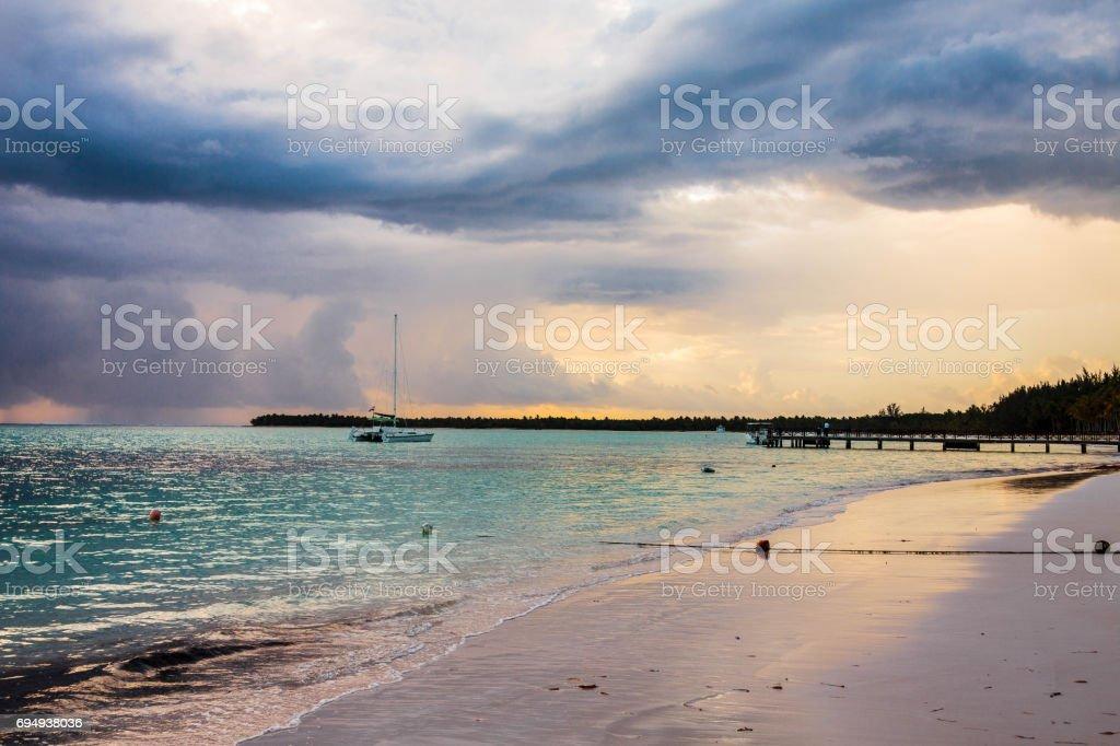 Beautiful sunrise on the beach in Punta Cana, Bavaro stock photo