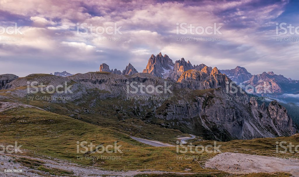 Beautiful sunrise on the Dolomites stock photo