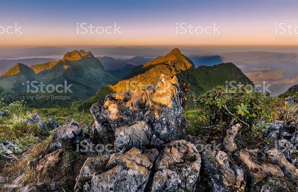 Beautiful sunrise on top mountain(Doi luang Chiangdao,Chiangmai,Thailand) stock photo