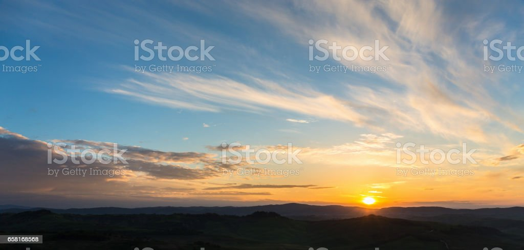 Beautiful sunrise over a landscape stock photo