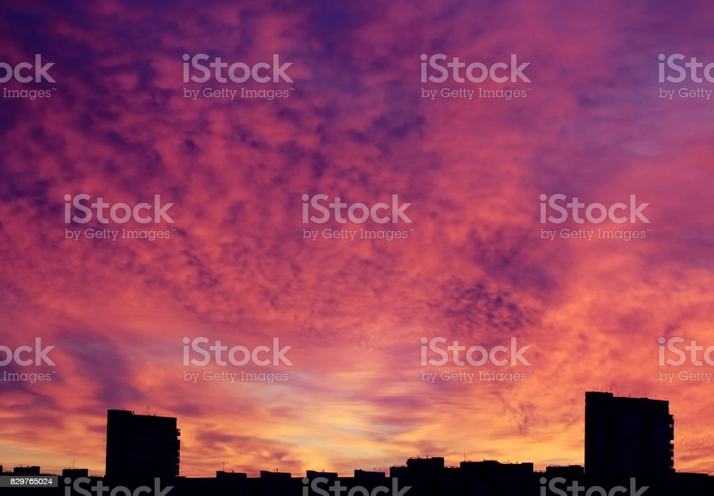 Beautiful sunrise over city stock photo