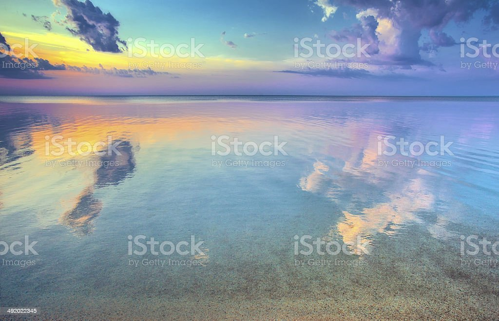 Beautiful sunrise over sea stock photo
