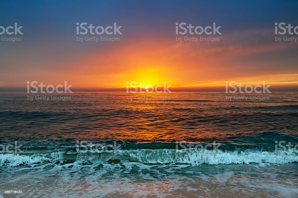 Beautiful sunrise over the horizon. stock photo