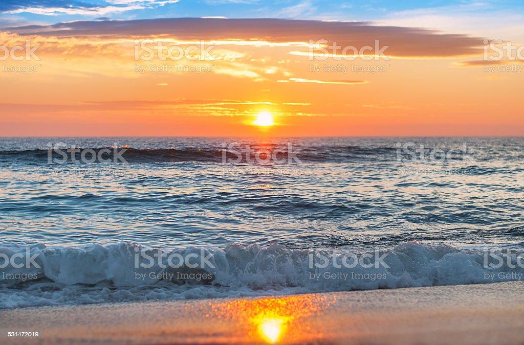 Beautiful sunrise over the horizon. stock photo