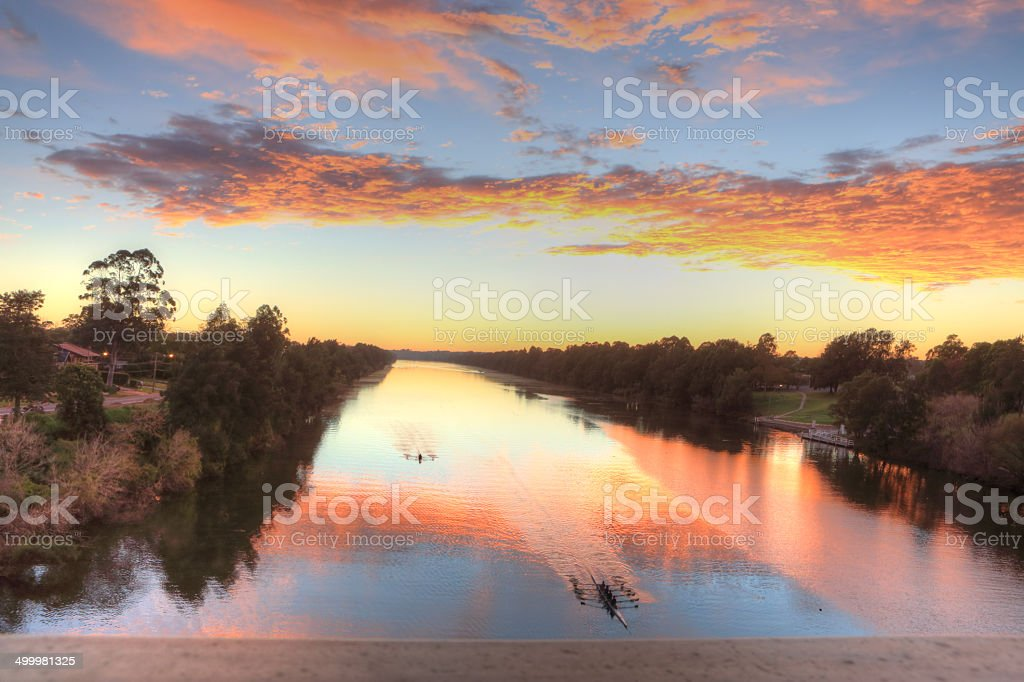 Beautiful sunrise over the Nepean River in Penrith stock photo