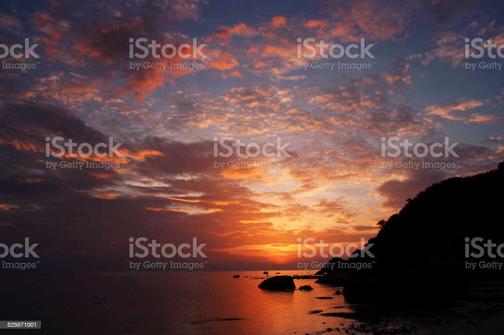 Beautiful sunrise over the ocean in violet color royalty-free stock photo
