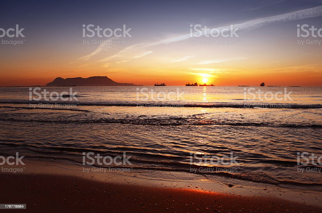 Beautiful sunrise over the Straits of Gibraltar stock photo