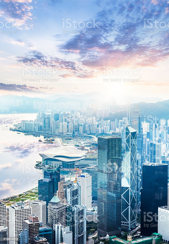 Beautiful  Sunrise over Victoria Harbor stock photo