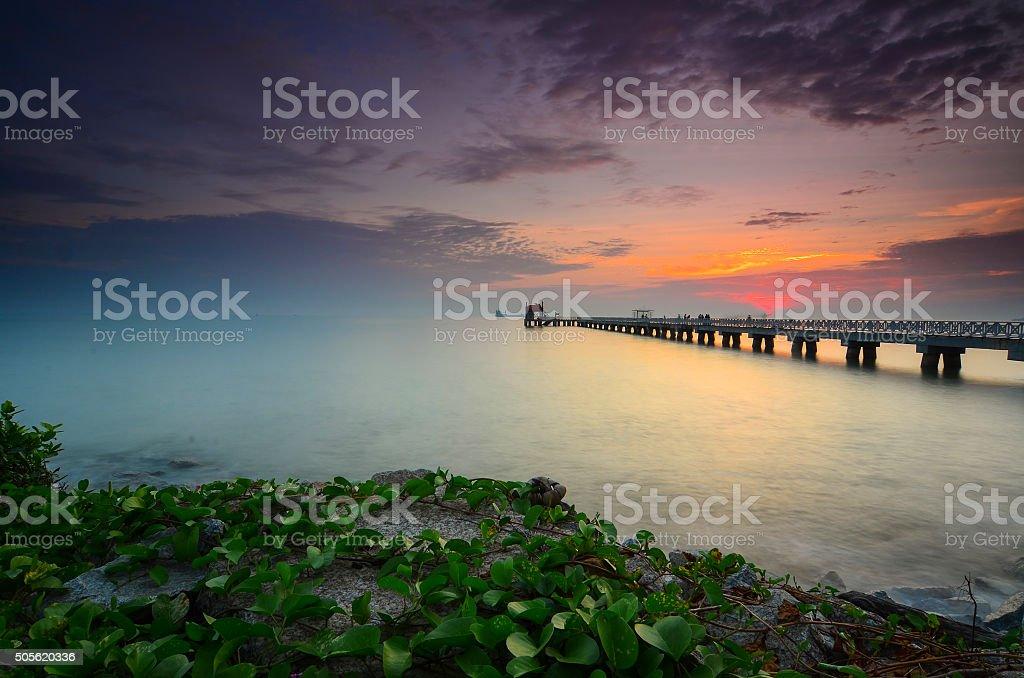 Beautiful Sunrise view at fisherman jetty stock photo