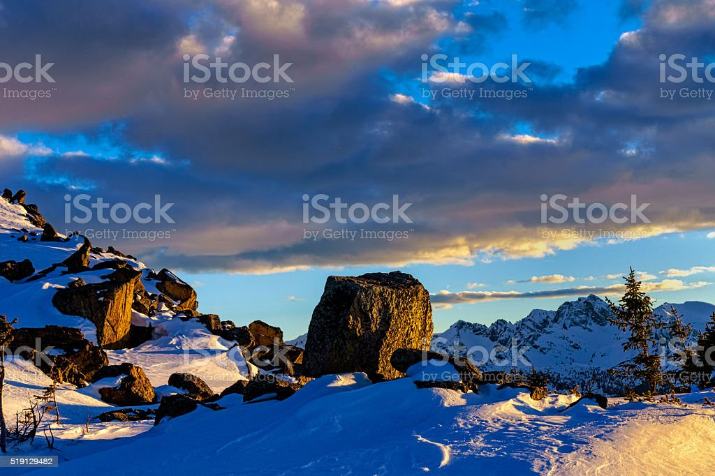 Beautiful Sunset Along Windy Mountain Ridge stock photo